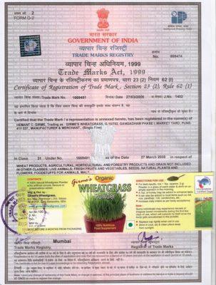 Label Trade Mark Registry Certificate