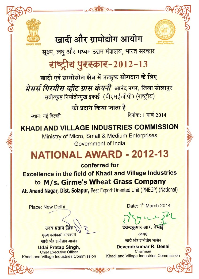 Certificate of National Award from MSME
