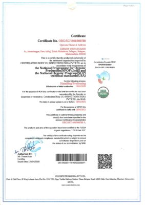 NPOP India Organic Certificate